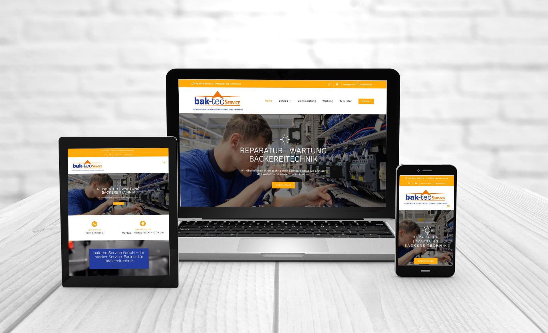 Professional web design, references Bak-tec-Service GmbH