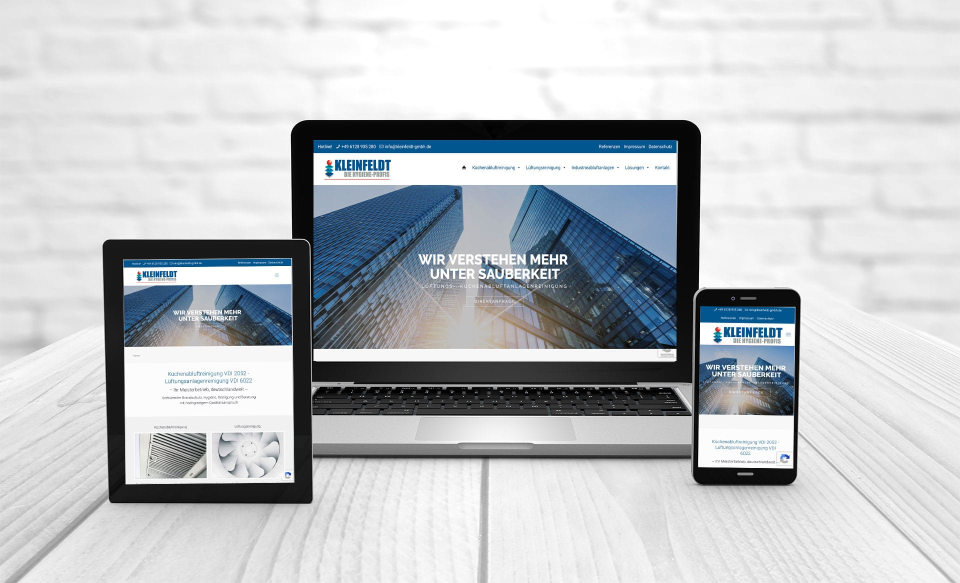Professional web design, references Kleinfeldt kitchen exhaust air cleaning