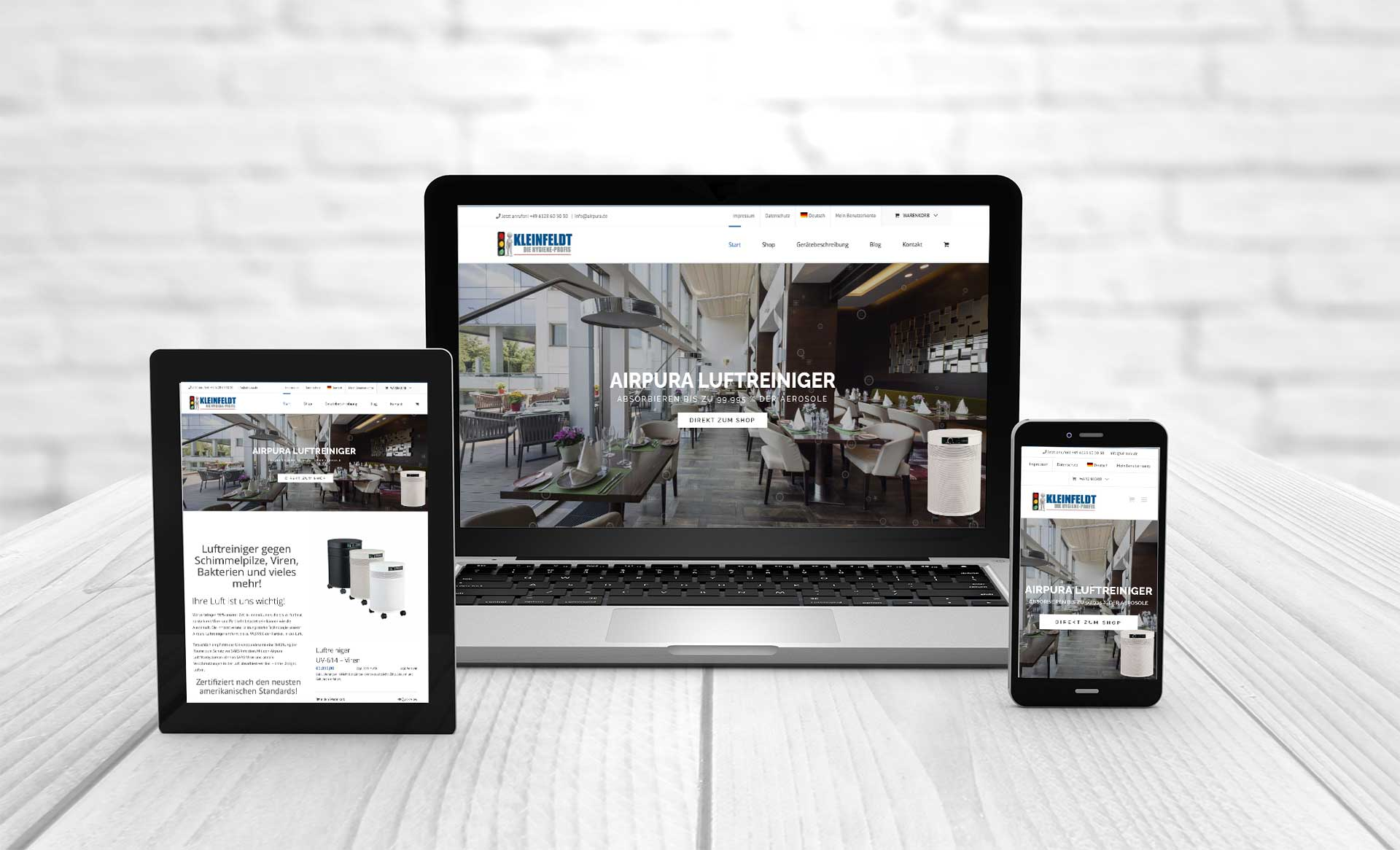 Professional web design, room air purifier, aerosol filter Airpura