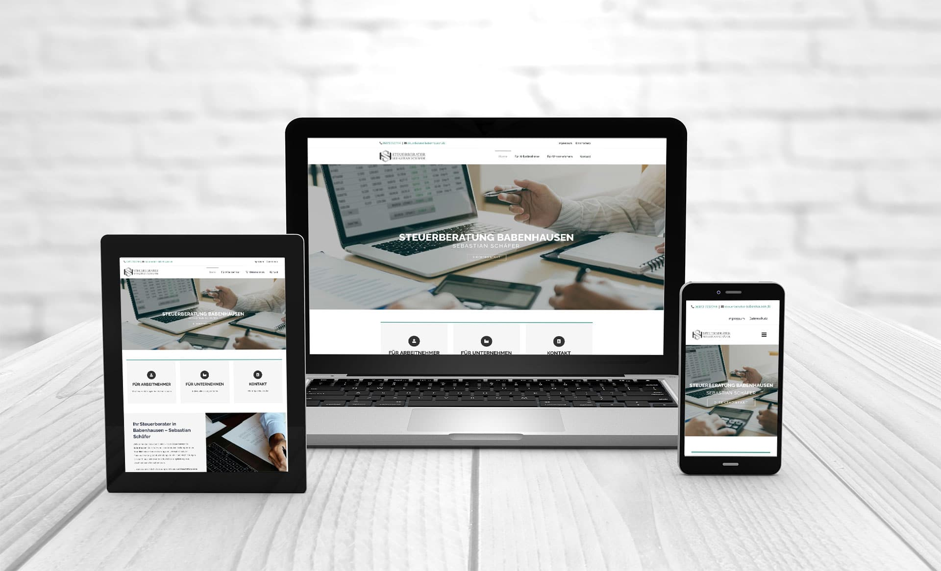 Professional web design Create website References Steuerberater Schaefer